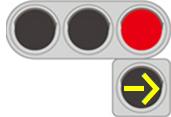 黄色の灯火の矢印